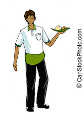 waiter wtih uniform drawing