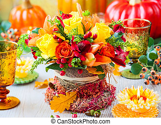 festive table setting - Festive table setting with basket of...