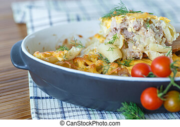 casserole with pasta and meat