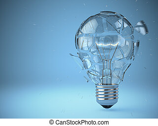 Light bulb exploding Concept of idea
