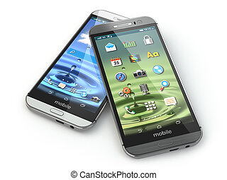 Two mobile phones on white isolated background.
