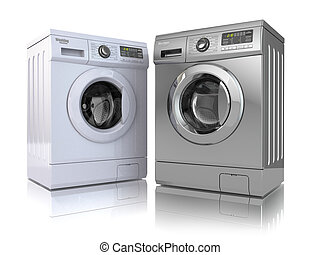 Washing machine - Washing machine on white isolated...