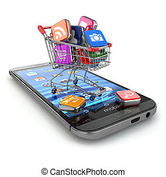 Store of mobile software. Smartphone apps icons in shopping...