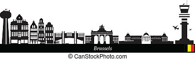 skyline brussels - belgium city brussels skyline with...