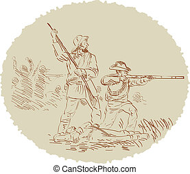 Civil War shooting side sketch - Illustration of a sketch of...