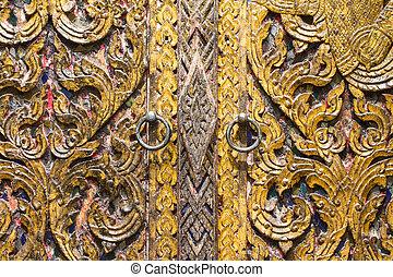 Thai style wooden door