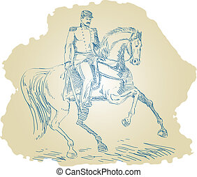 Civil War Union general riding horse - Illustration of a...