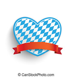 Bavarian Heart - Heart in bavarian colors on the white...