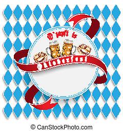 Munich Oktoberfest White Round Emblem - Oktoberfest design...