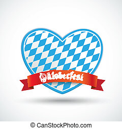 Oktoberfest Heart Red Banner - Heart with red banner and...