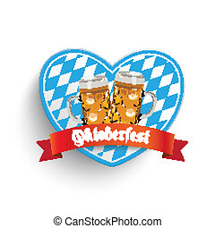 Bavarian Heart Beer Jugs - Heart in bavarian colors with...