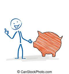Stickman Piggy Bank Ok - Stickman with with a orange piggy...