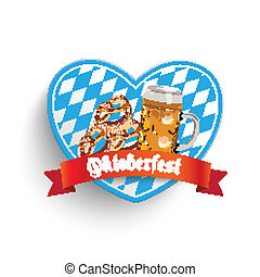 Bavarian Heart Beer Pretzel - Heart in bavarian colors with...