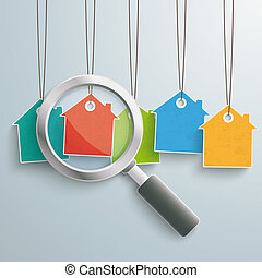 5 Colored Price Sticker Houses Loupe - Colored house price...