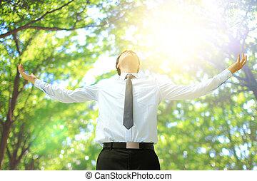 Deep breathing business man - Deep breathing carefree...