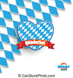 Bavarian National Colors Cover Heart - Blue rhombus pieces...