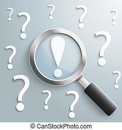 White Question Marks Loupe Exclamation Mark