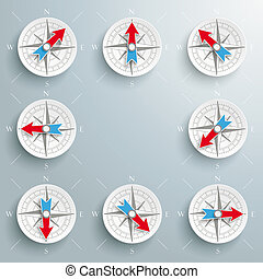 Compass Directions Set - Compass with all directions arrows...