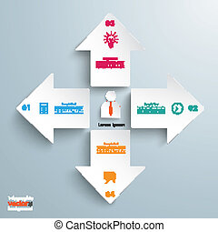 4 Arrows All Directions Infographic - 4 white arrows with...