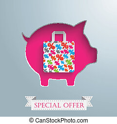 Piggy Bank Shopping Bag Silver Background - Vintage...