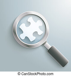 White Puzzle Piece Loupe - Infographic design on the grey...