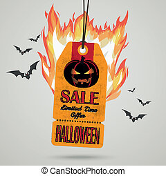 Vintage Halloween Price Sticker Fire - Infographic with...
