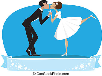 Bride and a bridegroom kissing - Vector illustration of a...
