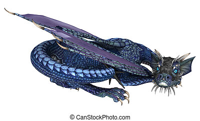 Blue Dragon - 3D digital render of a little blue dragon...