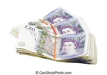 twenty pound cash - twenty pound notes isolated on a white...