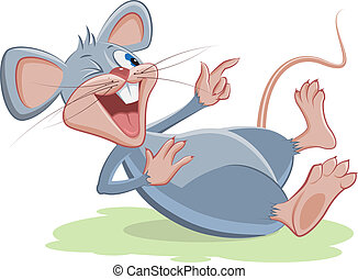 Gray mouse lies and laughs Vector cartoon illustration