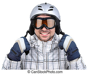 Winter Sports - Smiling confident sportsman standing with...
