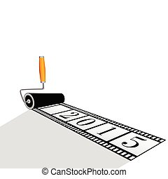 paint roller with film for 2015 year vector