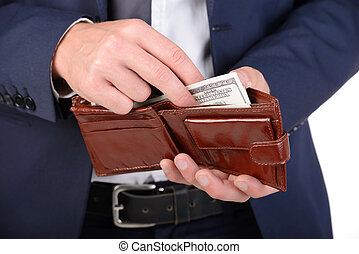 Money - Successful businessman holding a wallet with...