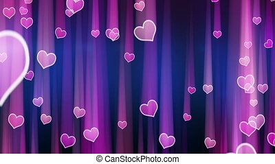 pink hearts with light streaks fall