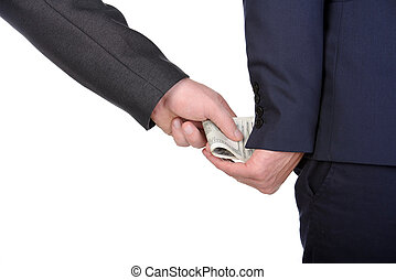Money - Man gently takes a bribe isolated on white...