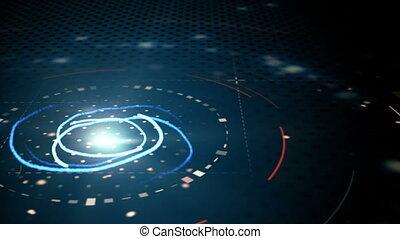 blue abstract techno circles loop