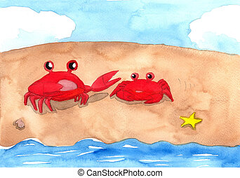 Two red crabs on the sand beach