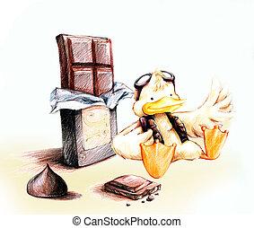 amarillo, piloto, pato, chocolate, caricatura, caricatura,...