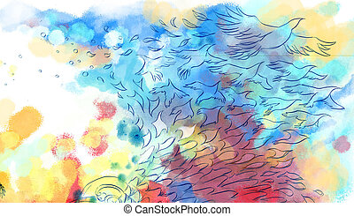 Abstract colorful dreamy bird fly background