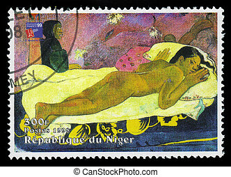 painting by Paul Gauguin, Spirit of the Dead Watching (Manao...