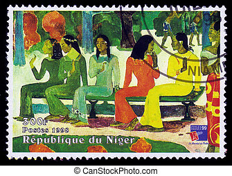 painting by Paul Gauguin, Ta Matete Aka the Market -...