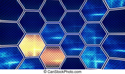 flashing blue orange hexagons loopable background - flashing...