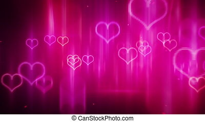 glowing neon hearts loop background
