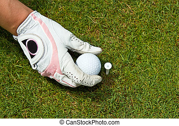 Close-up of a gloved hand of a woman golfer placing golf...