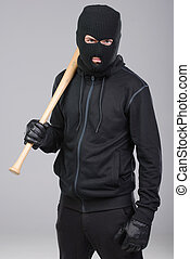 Criminality - Hooligan with baseball bat ready for fight....