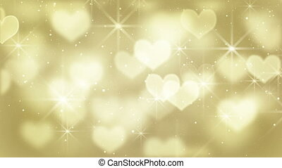 gold heart shapes loop background - gold heart shapes...