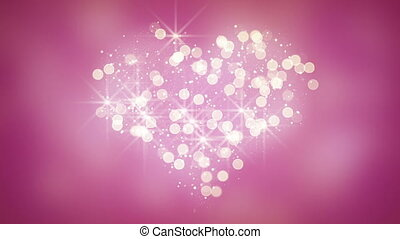 glares and particles heart shape loop background - glares...