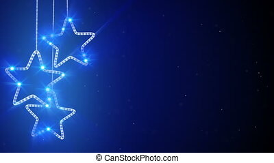 blue hanging stars loop background - blue hanging stars...