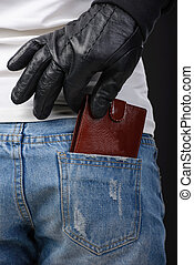 Criminality - Male hand pulls out a purse from a pocket of...
