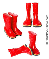 Gumboots - Red gumboots isolated on white background